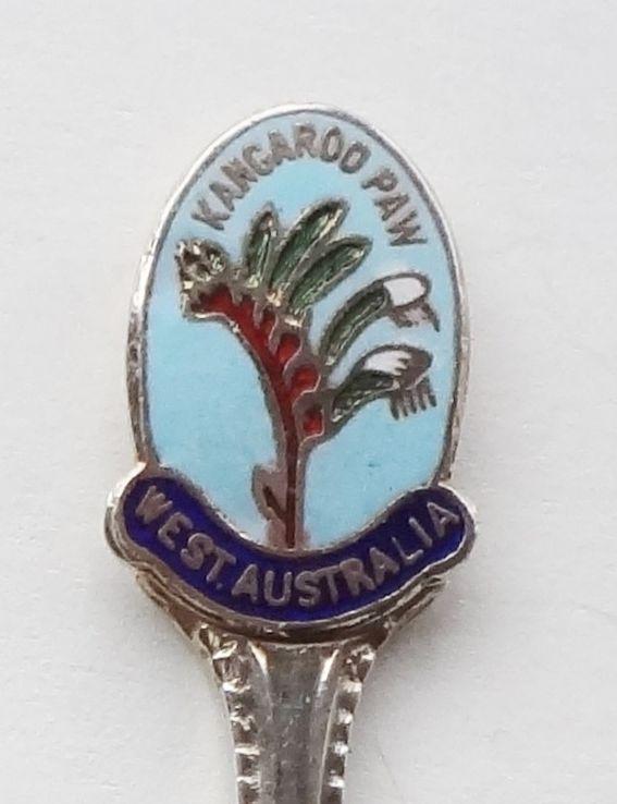 Collector Souvenir Spoon Australia Western Kangaroo Paw Flower Plant Cloisonne - $9.99