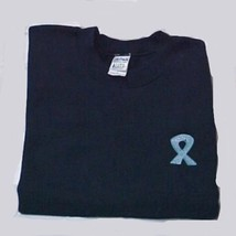 Ovarian Cancer Awareness Teal Lilac Ribbon Black Crew Sweatshirt S Unise... - $23.97