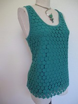 J. Crew Crochet Dot Lace Overlay Tank Top S Turquoise Teal  100% Cotton - $11.29