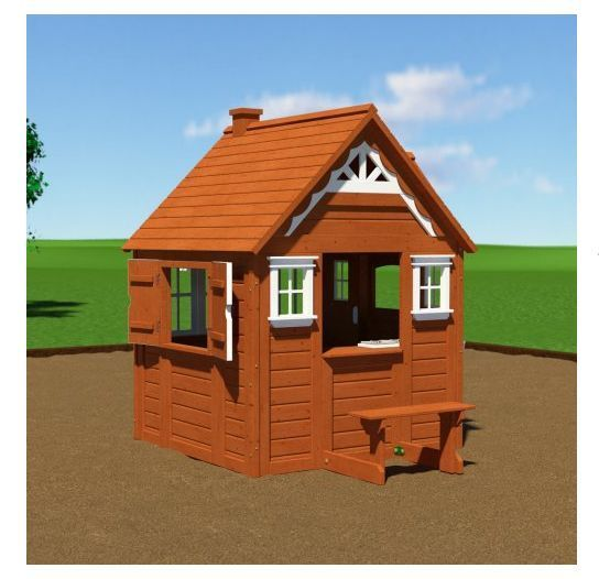 Outdoor Wooden Playhouse Kids Clubhouse Toy Backyard Play ...