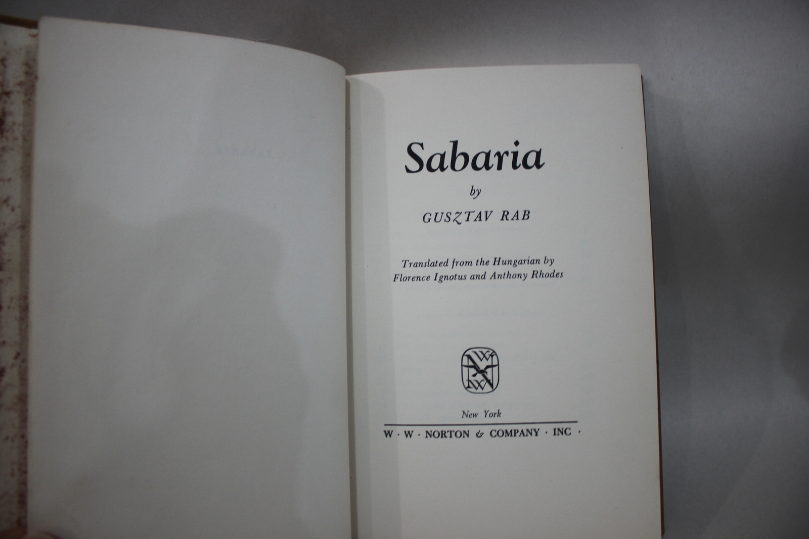 Sabaria Hardback Book by: GusZtav Rab First American Edition 1964