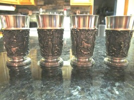 4 GES GESCH W. GERMANY PEWTER SHOT GLASSES SHOOTERS ORNATE RARE - $56.95