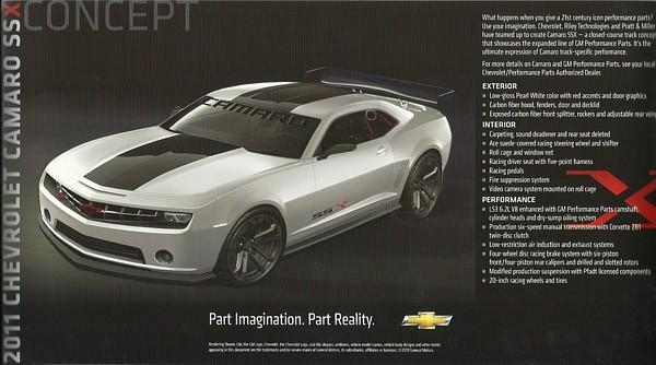 2011 Chevrolet CORVETTE Z06X and CAMARO SSX Concepts brochure card sheet US SEMA