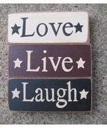 Wood Blocks 59217 - Live Love and Laugh Blocks set of 3 (Cream,Burgundy ... - $6.95