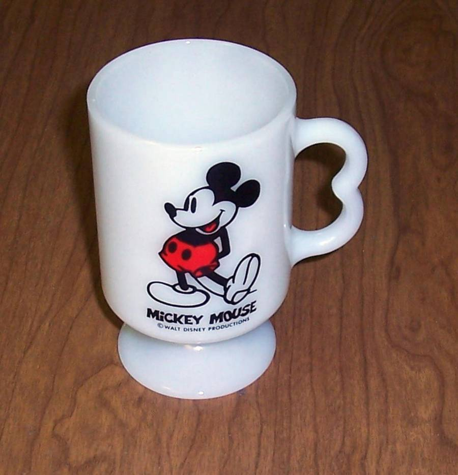 Primary image for Disney Productions Mickey Mouse Milk Glass Coffee Cup Pedestal Mug