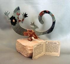 Lazart Gecko Lizard Metal Sculpture Sandstone Base w Label - $19.99