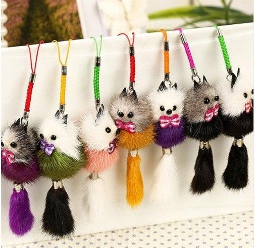 Primary image for 1pcs Keychain Pure Cute Lollipop Bunny for Women Bag Pom Pom Bags Rabbit Fur