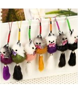 1pcs Keychain Pure Cute Lollipop Bunny for Women Bag Pom Pom Bags Rabbit... - $6.99