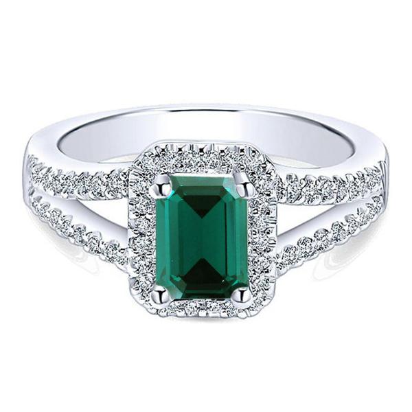 Wedding Ring 10k White Gold Plated 925 Silver Rectangular Shape Green Sapphire