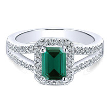 Wedding Ring 10k White Gold Plated 925 Silver Rectangular Shape Green Sapphire - $81.20
