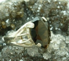 Smoky Quartz Faceted Glass Crystal Marquise Sterling Ring Size 8 - $29.00