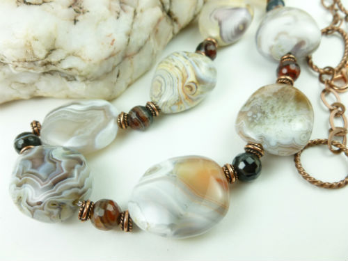 Botswana banded agate nugget copper beaded necklace 28 inch 15d61a68 1