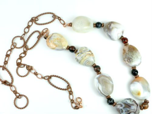 Botswana banded agate nugget copper beaded necklace 28 inch fd23a8bd 1