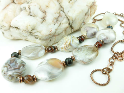 Botswana banded agate nugget copper beaded necklace 28 inch b9fb2138 1