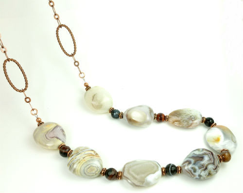 Botswana banded agate nugget copper beaded necklace 28 inch 70057dda 1