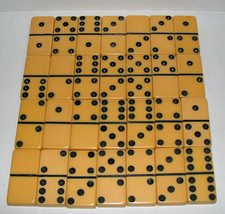Vintage Butterscotch Dominoes Complete Professional Size Set of 28 - $48.00