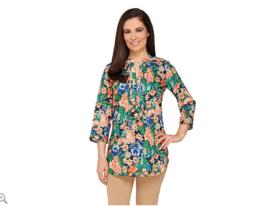 Liz Claiborne New York Floral Print Button Front Tunic QVC Size 8 Blue - $24.13