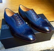 Magnificiant Blue Tone Wing Tip Lace Up Premium Leather Oxford Formal Shoes - $139.99+