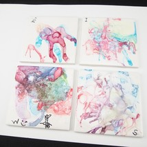 4 Hand Color Watercolor Colorful Drink Wine Beer Ceramic Tile Coasters 4... - $442,39 MXN