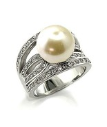 Women's Silver Tone 12mm White Pearl Solitaire CZ Fashion Ring- SIZE 9,10 - $14.87