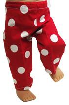 "(I20B35) Clothes American Handmade Red White Poke-A-Dot Pants 18"" Inch Doll  - $9.99"