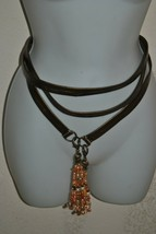 Women's Taupe Wrap Belt With Jeweled Tassels, Clip Ends - No Holes View ... - $20.00