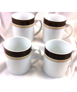 Royal Doulton Sierra Coffee Mugs Lot 4 Brown Gold Cream 2008 Porcelain - $49.99