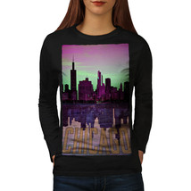 Chicago Sunset Fashion Tee Over Water Women Long Sleeve T-shirt - $14.99