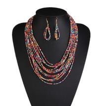 Heeda Vintage Boho Bohemia Layers Seedbead Necklace Earrings Set Kpop Trendy Gra - $13.53