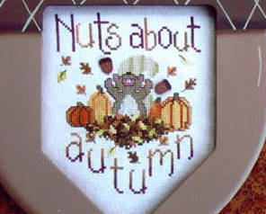 Nuts About Autumn fall squirrel acorn cross stitch chart Waxing Moon Designs