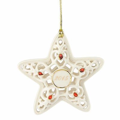 Lenox 2015 Radiant Star Ornament Annual Pierced Dated Red Crystals Christmas NEW