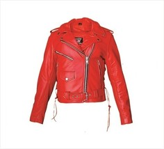 Allstate Leather Women's Red Leather Motorcycle Jacket AL2122 - $162.00+