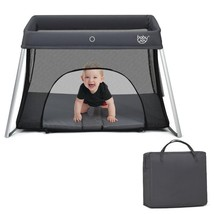 Lightweight Foldable Baby Playpen w/ Carry Bag-Dark Gray - $115.18
