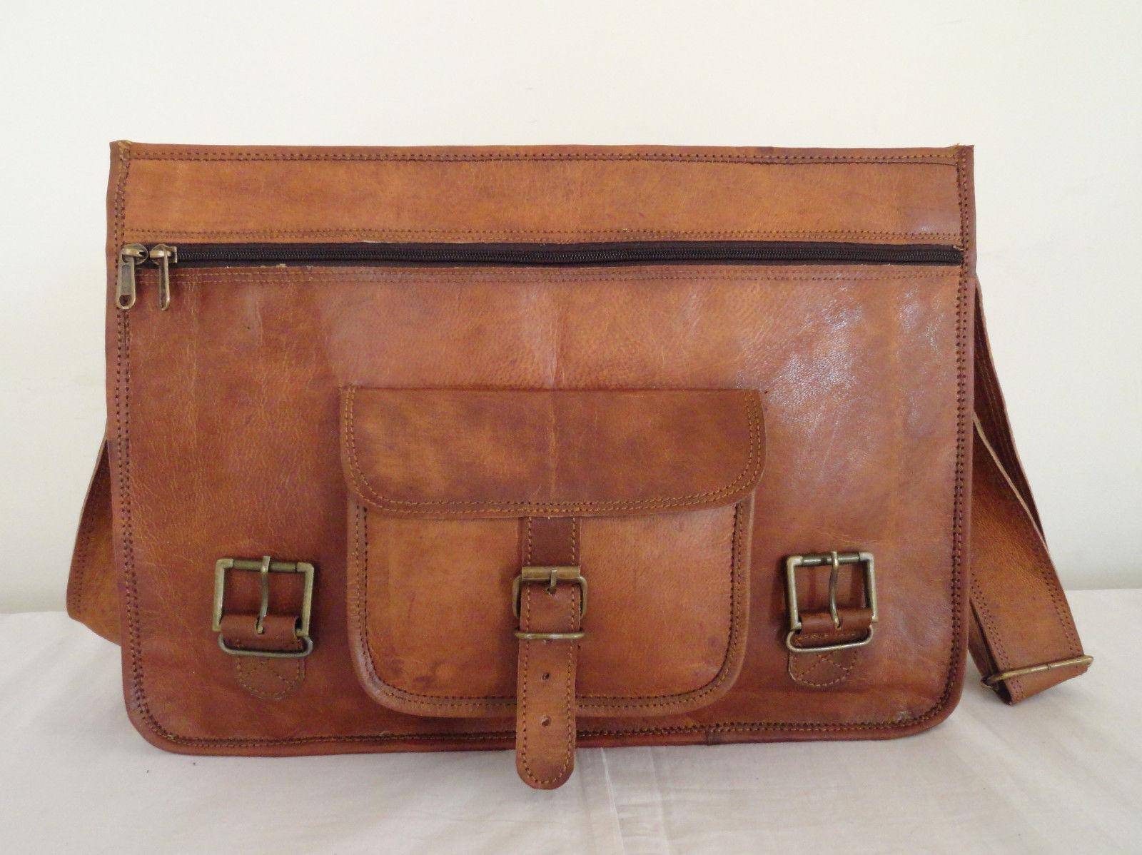 "18"" Coach Leather Crossbody Messenger Bag Men Laptop Briefcase Satchel Men Bag"