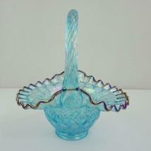 Fenton Glass Basket Turquoise Diamond Pattern Crimped Carnival Glass Trim - $87.07