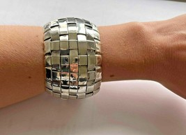 Vintage Mexico 925 Square and Rectangle Cross Design Wide Cuff Bracelet - $106.25