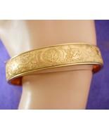Vintage Victorian Bracelet fancy floral etched bangle hinged gold filled - $245.00