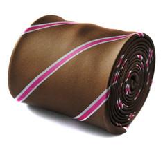 marrón y rosa a rayas hombre POLE DANCE Corbata Frederick Thomas ft724 - $22.49