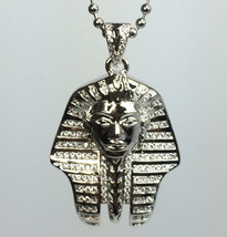 White Gold Plated Mini King Tut Egyptian Pharaoh Pendant And Ball Chain ... - £24.90 GBP