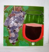 Red Wine Trivet Wall Plaque Ceramic Table top Merlot Grapes Vineyard Coc... - $22.26