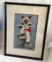 Siamese Cat Cross Stitched Framed Wall Plaque  Fish Seaweed  Handmade Vt... - $135.75