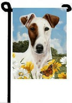 Fox Terrier Garden Flag Brown White Mask Face P... - $17.41