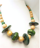Green Wood Beads and Jade Gemstone Gold Choker Necklace - $18.00