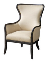 Weathered Black WING CHAIR, Neutral Fabric and Brass Nailheads,  ACCENT ... - £667.36 GBP