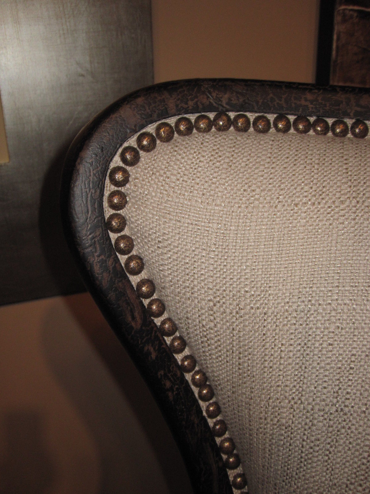 Weathered Black WING CHAIR, Neutral Fabric and Brass Nailheads,  ACCENT CHAIR