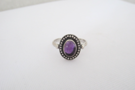 Vintage Sterling Silver Natural Amethyst Cabochon Ring Size 6.75 - $25.00