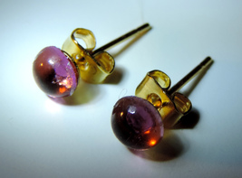 Genuine Pink Tourmaline 7x5mm Cabochon (Gold Plated)  Post Earrings - $24.00