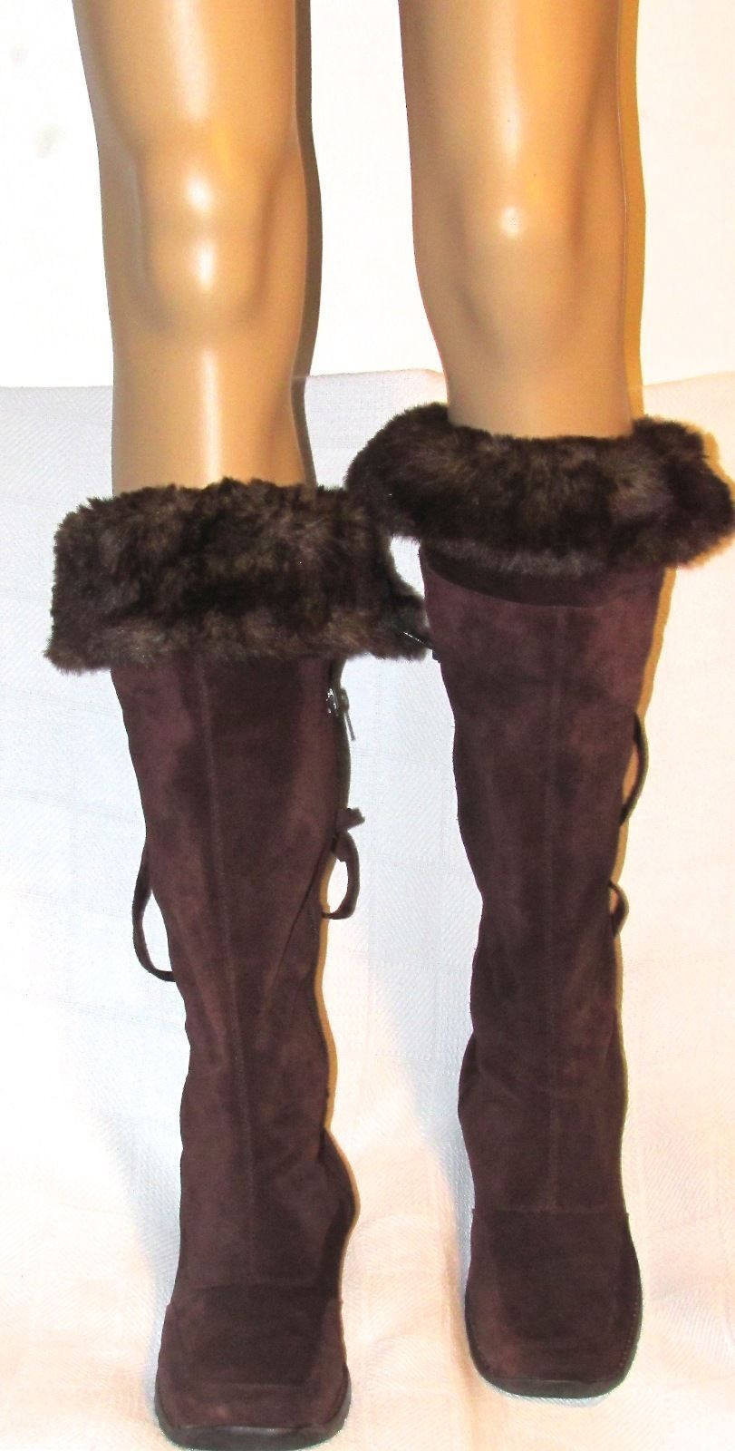 Aerosoles Fur-Ever Women's Brown Suede & Faux Fur Knee High Boots S: 8.5 M Low