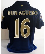 Kun Aguero #16 Manchester city away patches epl gold champ soccer jersey footbal - $38.99
