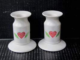 Corelle Life Styles Quilt Candle Holders Set of 2 Red Pink Hearts Blue D... - $18.00